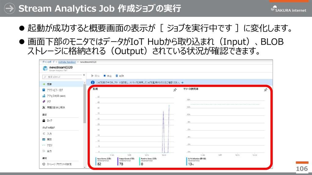 Stream Analytics Job 作成ジョブの実行 ⚫ 起動が成功すると概要画面の表示...