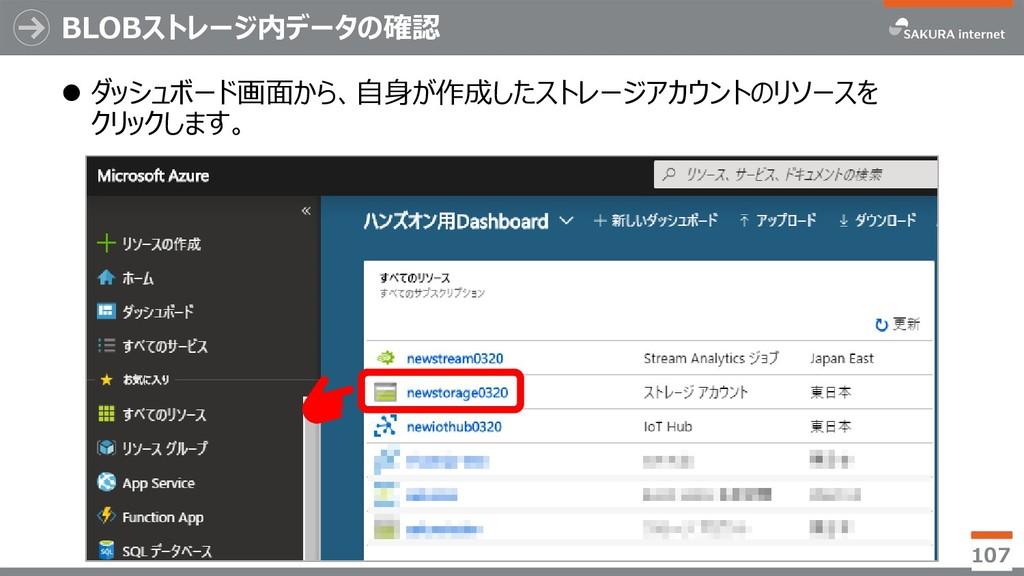 BLOBストレージ内データの確認 ⚫ ダッシュボード画面から、自身が作成したストレージアカウン...