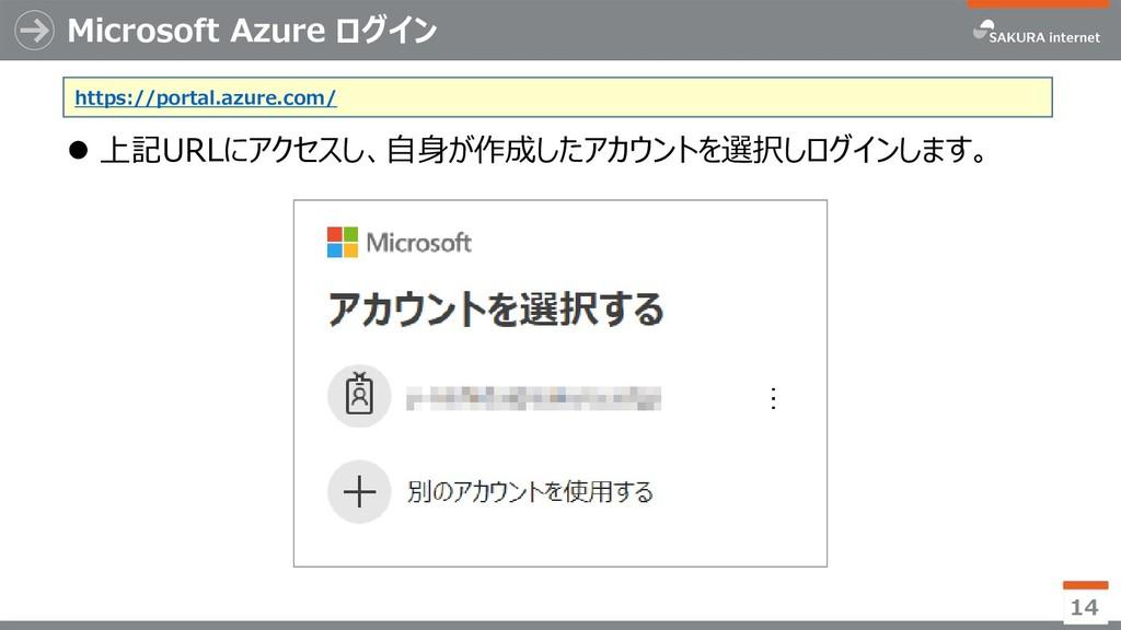 Microsoft Azure ログイン ⚫ 上記URLにアクセスし、自身が作成したアカウント...