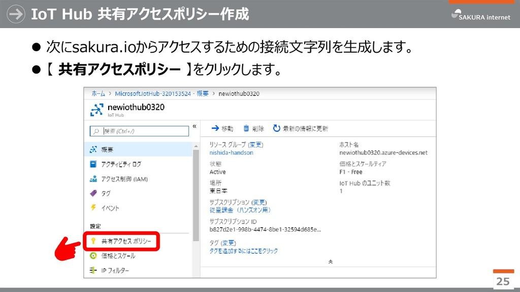 IoT Hub 共有アクセスポリシー作成 ⚫ 次にsakura.ioからアクセスするための接続...