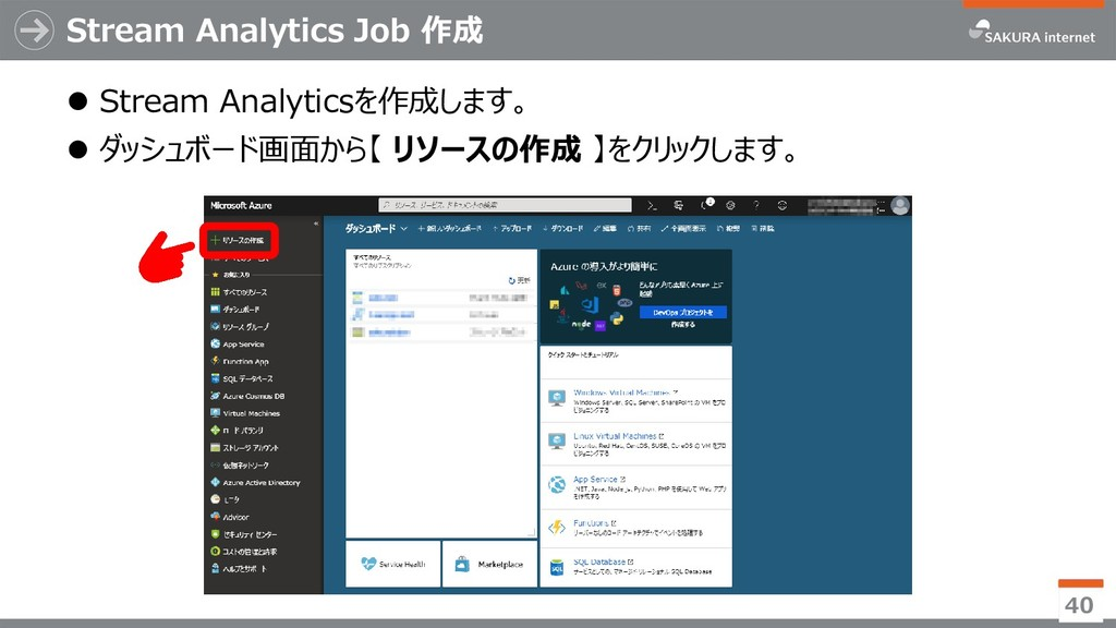 Stream Analytics Job 作成 ⚫ Stream Analyticsを作成しま...