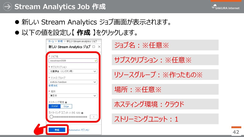 Stream Analytics Job 作成 ⚫ 新しい Stream Analytics ...