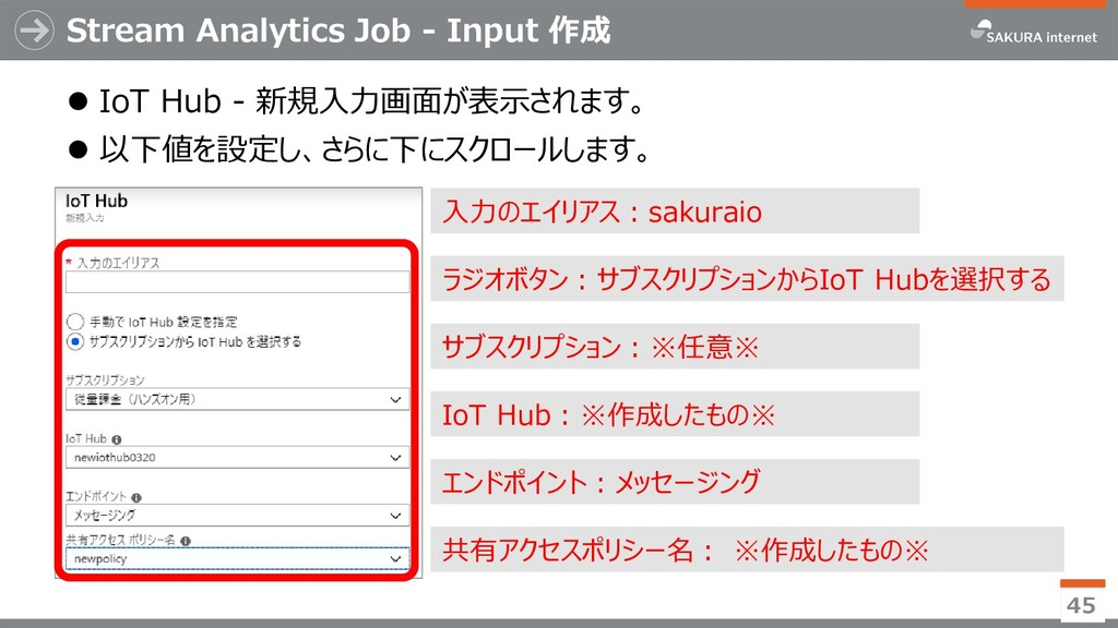Stream Analytics Job - Input 作成 ⚫ IoT Hub - 新規入...