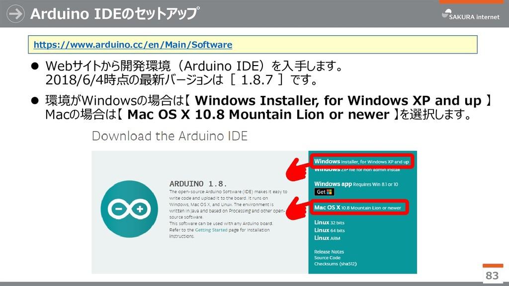 Arduino IDEのセットアップ ⚫ Webサイトから開発環境(Arduino IDE)を...