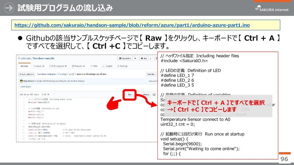 試験用プログラムの流し込み ⚫ Githubの該当サンプルスケッチページで【 Raw 】をクリ...