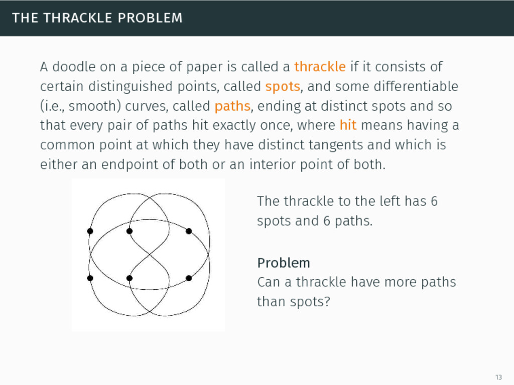 the thrackle problem A doodle on a piece of pap...