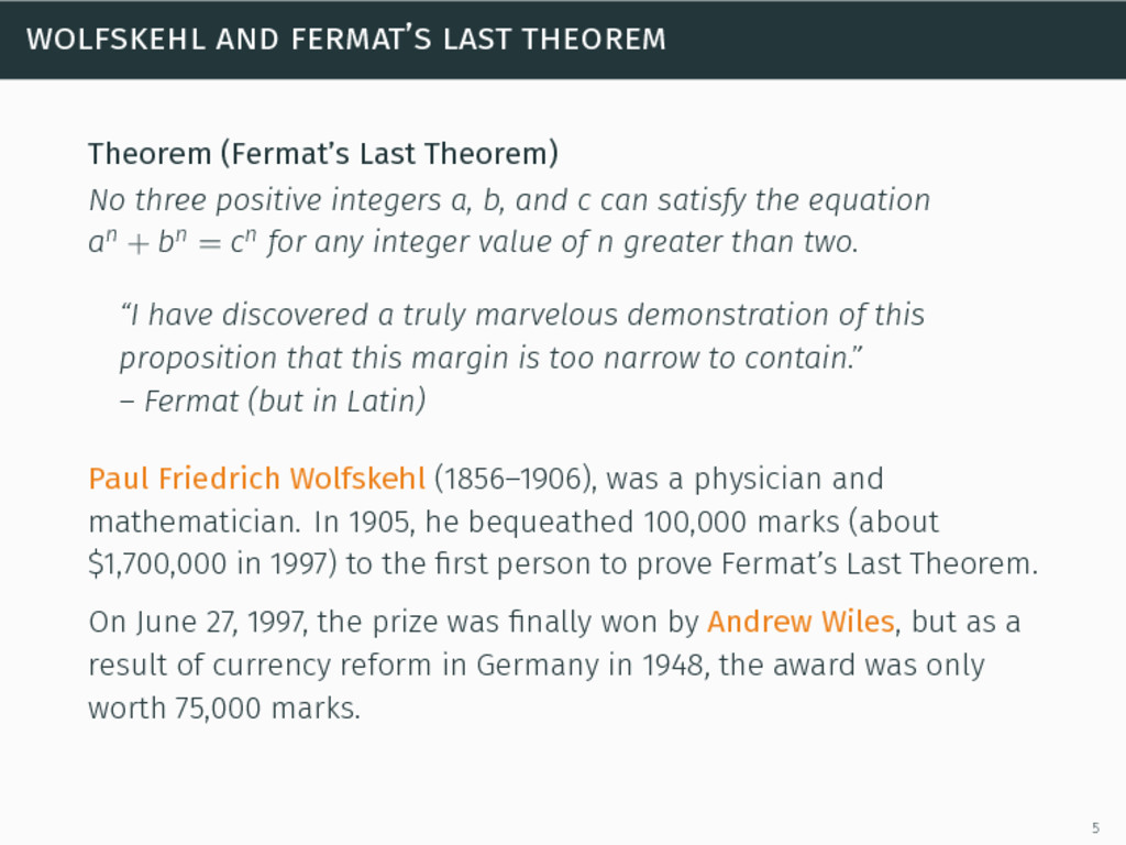 wolfskehl and fermat's last theorem Theorem (Fe...