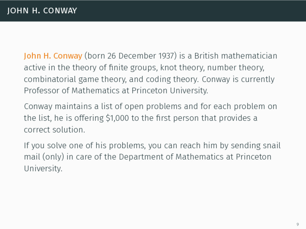 john h. conway John H. Conway (born 26 December...