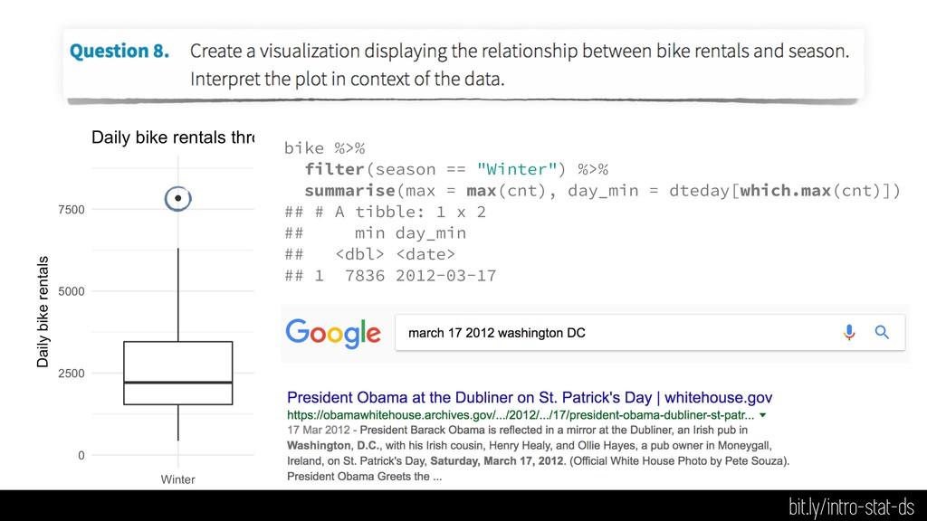 "bike %>% filter(season == ""Winter"") %>% summari..."