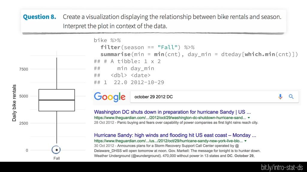 "bike %>% filter(season == ""Fall"") %>% summarise..."