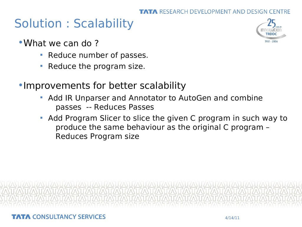 4/14/11 Solution : Scalability •What we can do ...
