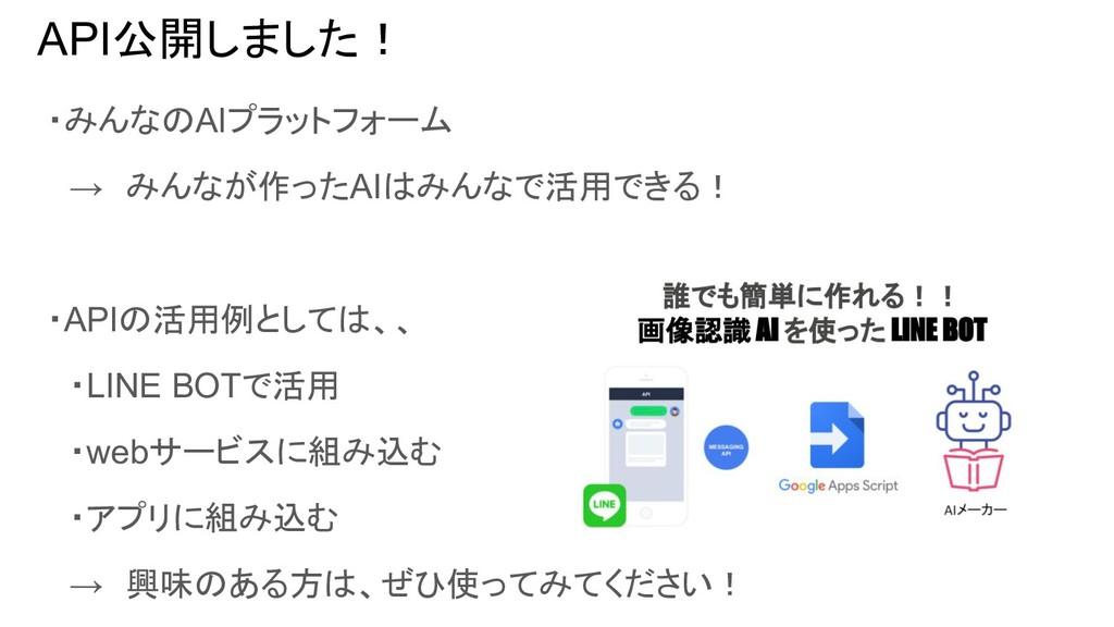 API公開しました! ・みんなのAIプラットフォーム  → みんなが作ったAIはみんなで活用で...