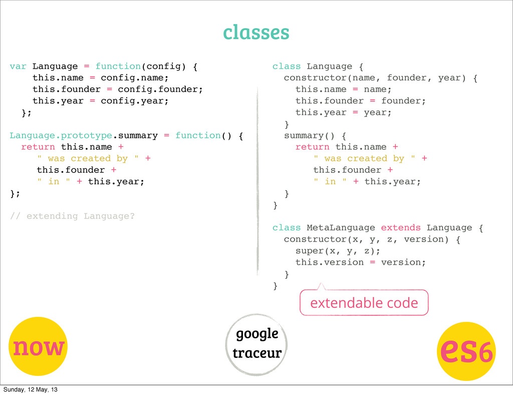 classes now es6 google traceur var Language = f...