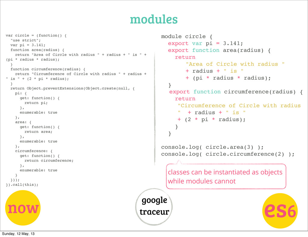modules now es6 google traceur var circle = (fu...