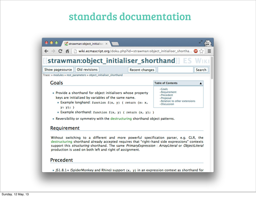 standards documentation Sunday, 12 May, 13