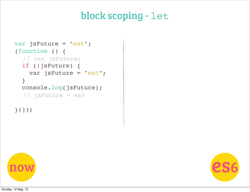 "block scoping - let now var jsFuture = ""es6""; (..."