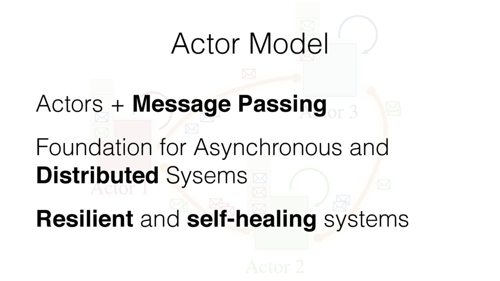 Actor Model Actors + Message Passing Foundation...