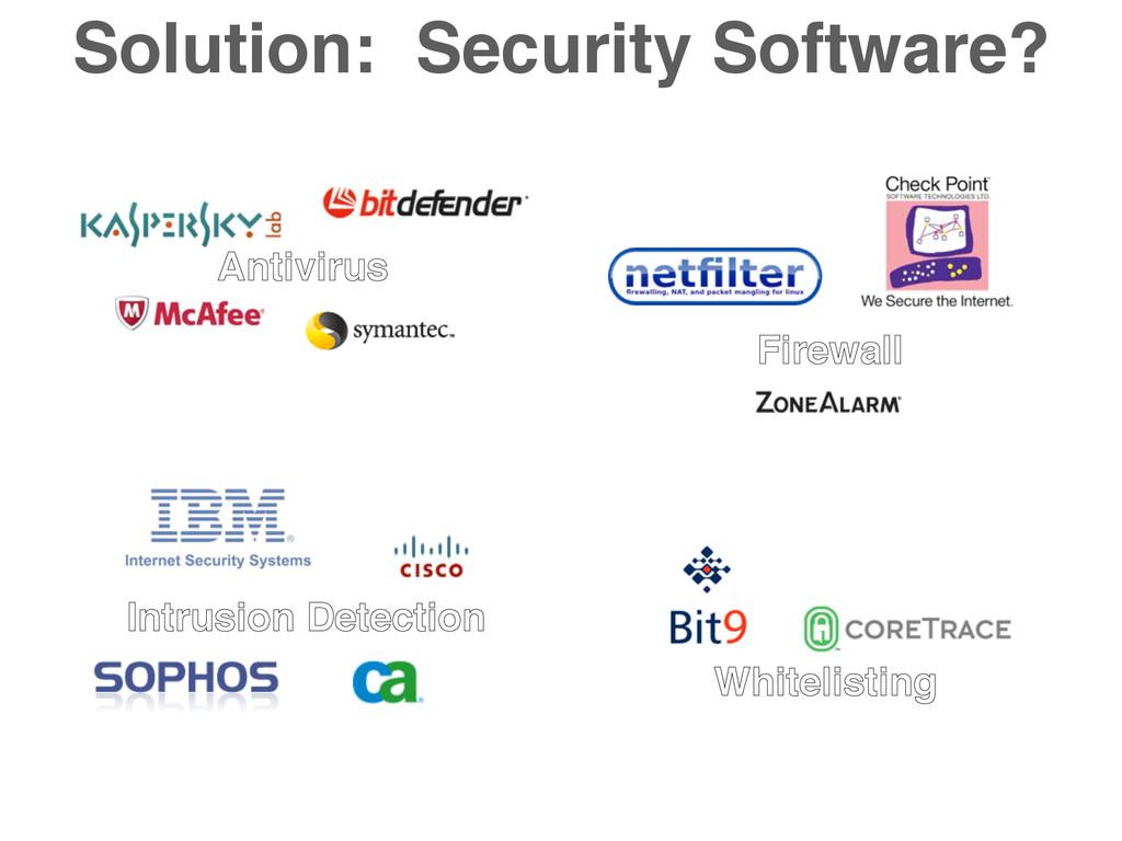 Solution: Security Software? Antivirus Firewall...