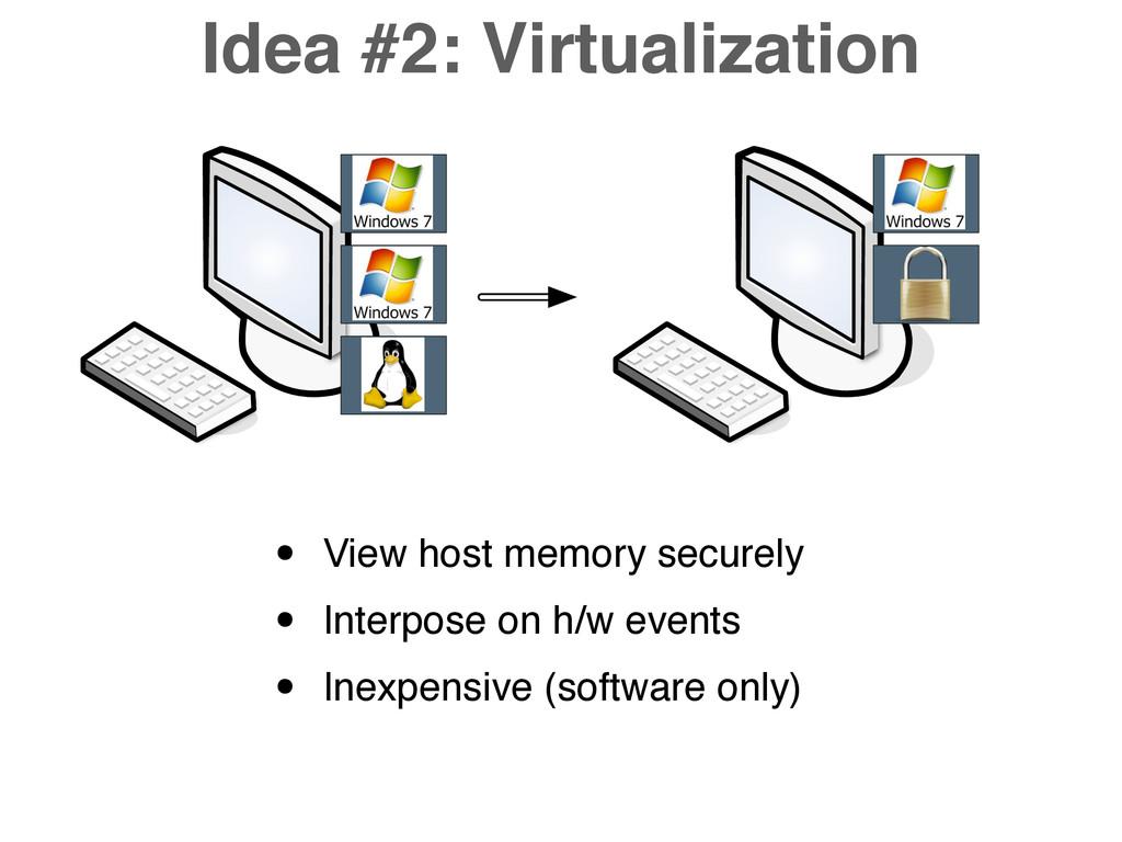 Idea #2: Virtualization • View host memory secu...