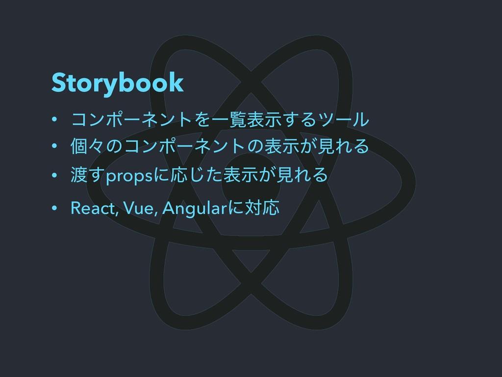 Storybook • ίϯϙʔωϯτΛҰཡදࣔ͢Δπʔϧ • ݸʑͷίϯϙʔωϯτͷද͕ࣔݟ...