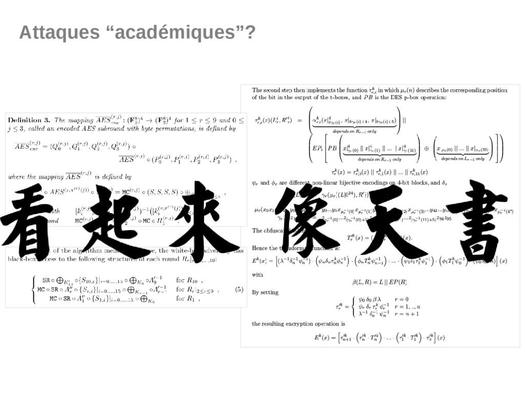 """Attaques """"académiques""""?"""