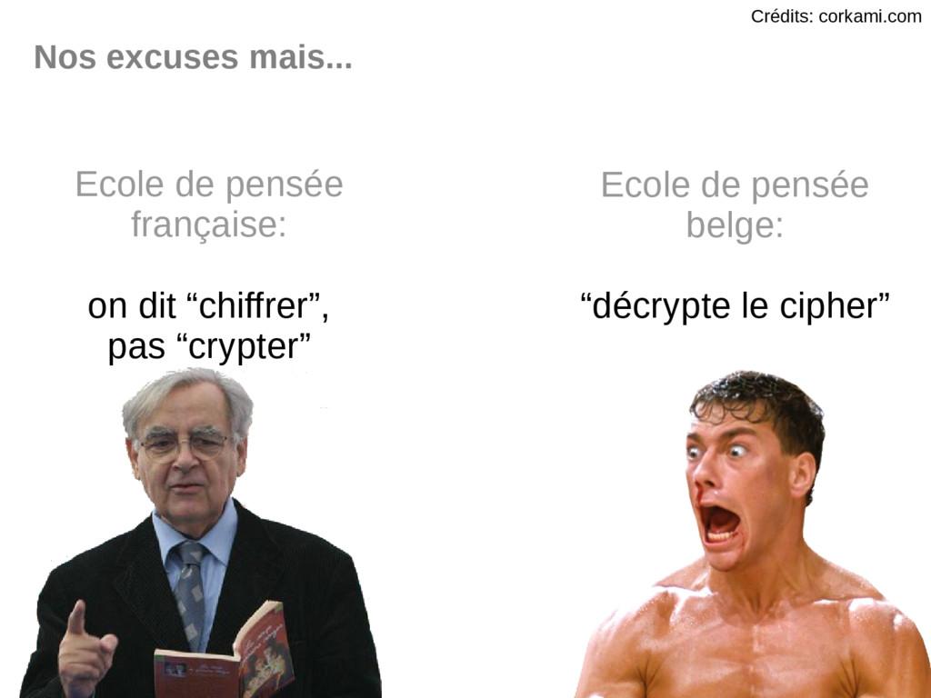Nos excuses mais... Ecole de pensée française: ...