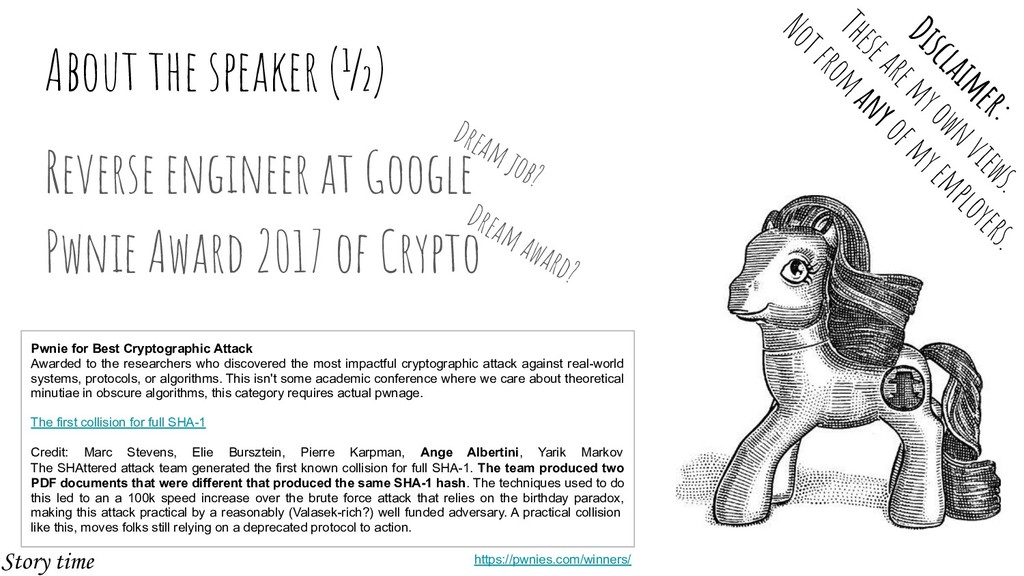 About the speaker (½) Reverse engineer at Googl...
