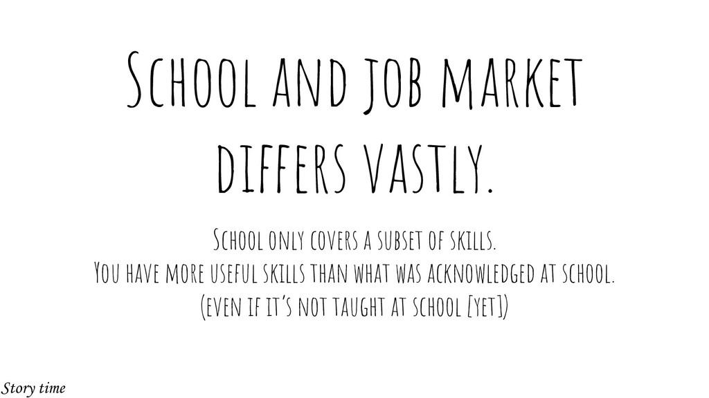 School and job market differs vastly. School on...