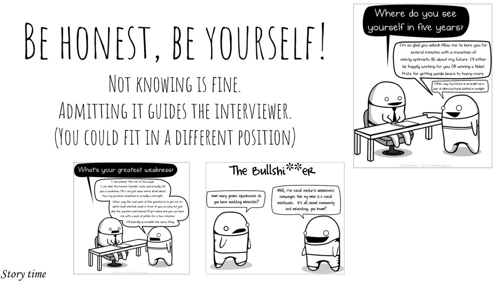 Be honest, be yourself! Not knowing is fine. Adm...