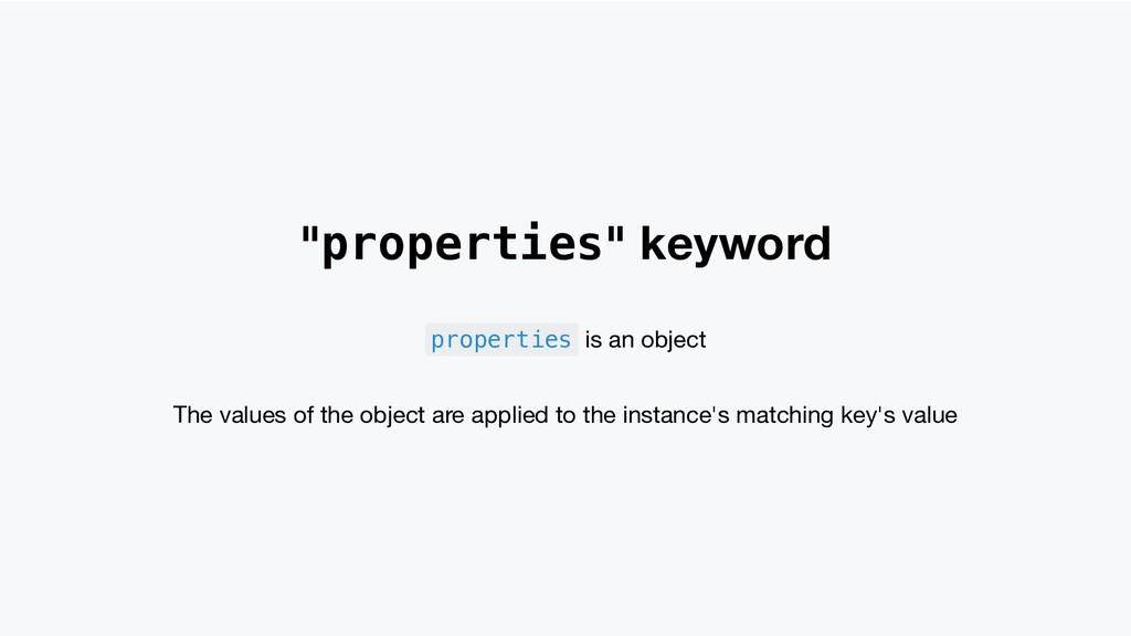"""properties"" keyword properties is an object Th..."