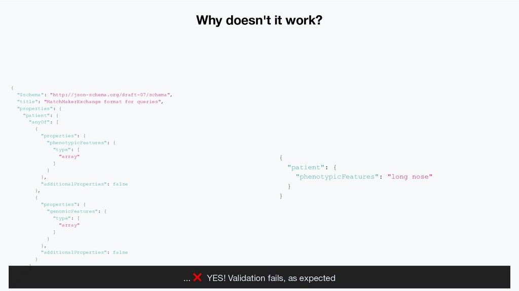 """Why doesn't it work? { """"$schema"""": """"http://json-..."""