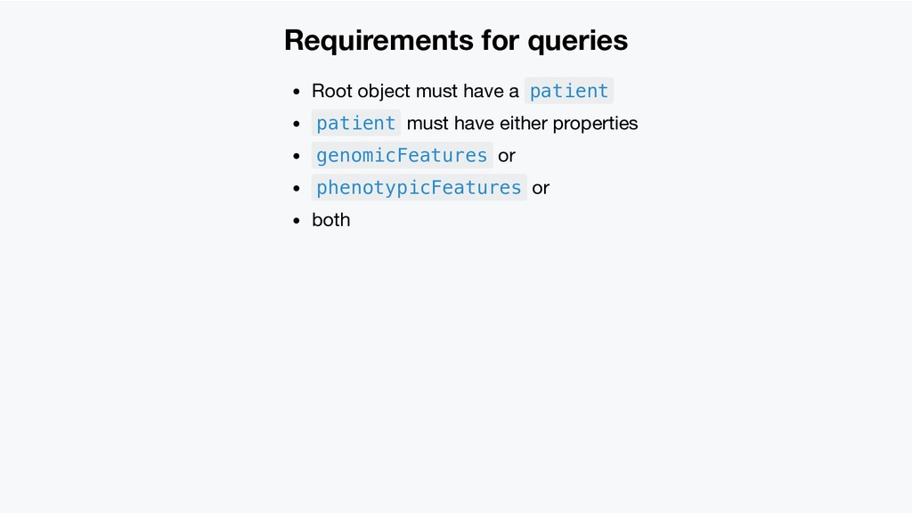 Requirements for queries Root object must have ...