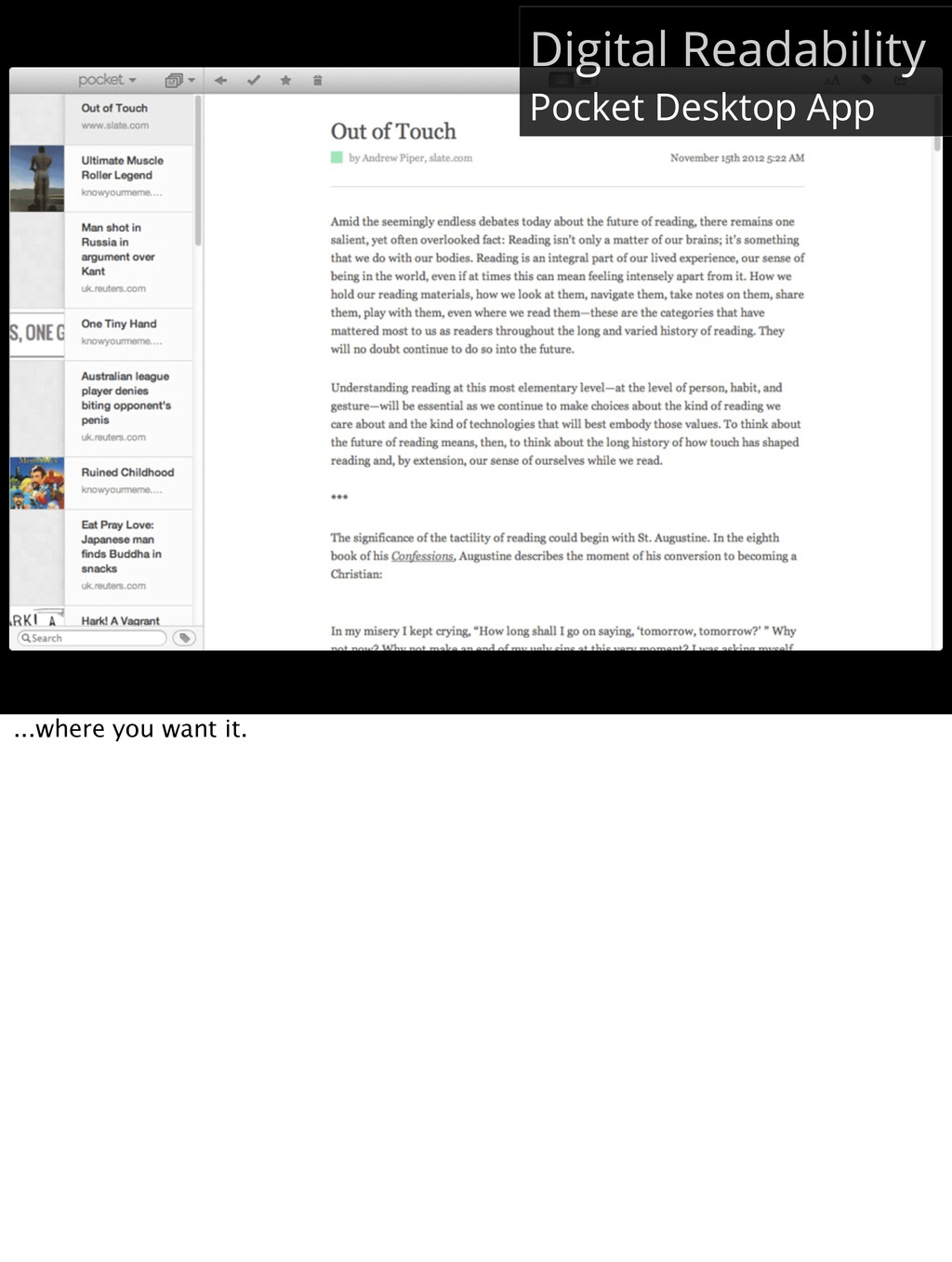 Digital Readability Pocket Desktop App ...where...