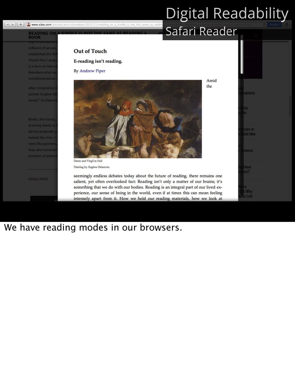 Digital Readability Safari Reader We have readi...