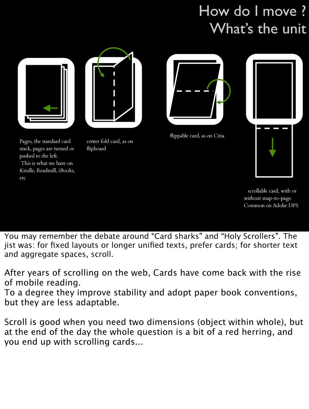 center fold card, as on flipboard Pages, the sta...