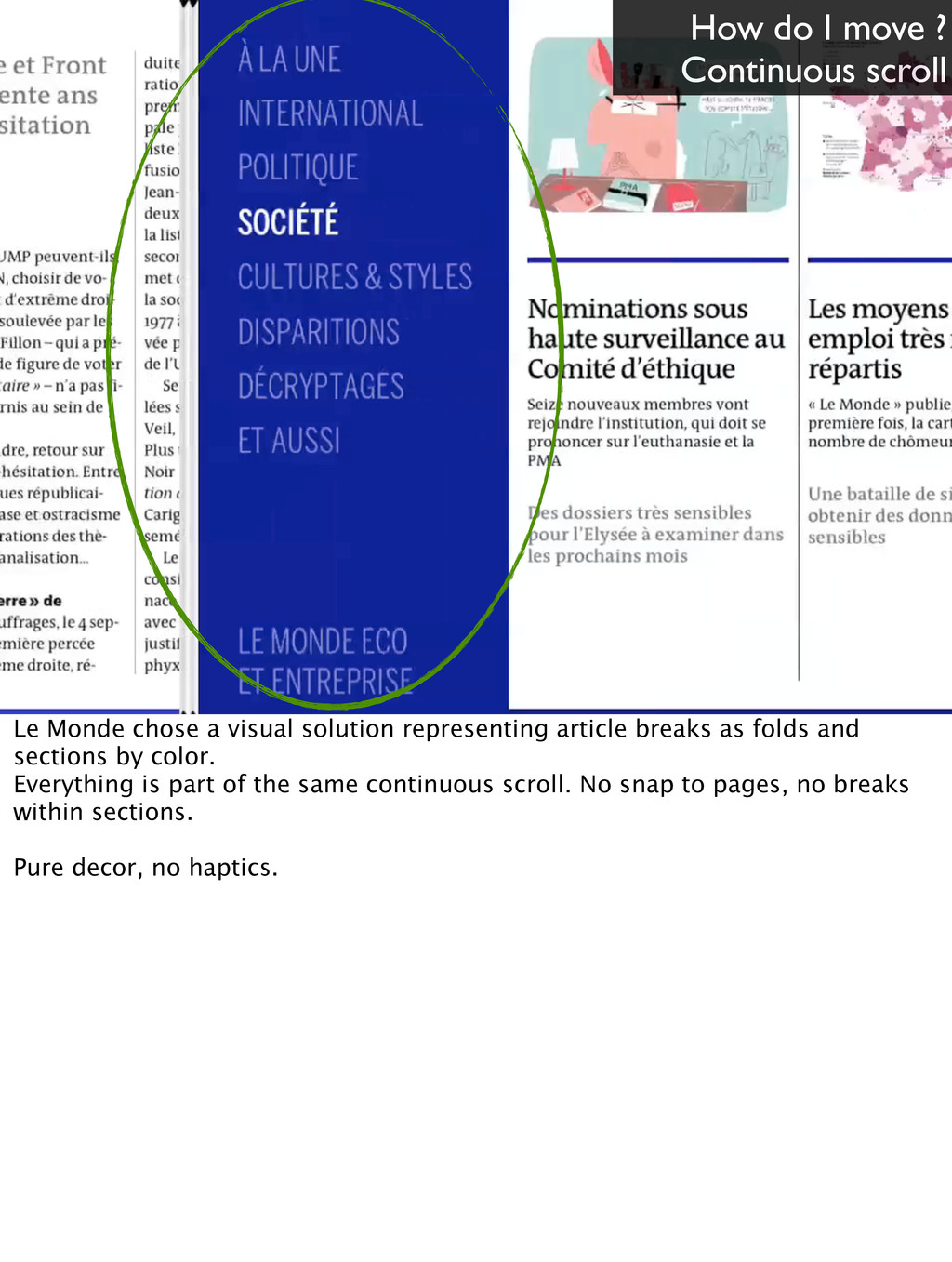 How do I move ? Continuous scroll Le Monde chos...