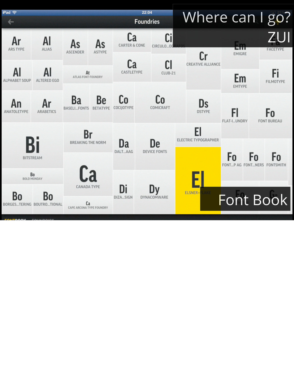 Where can I go? ZUI Font Book
