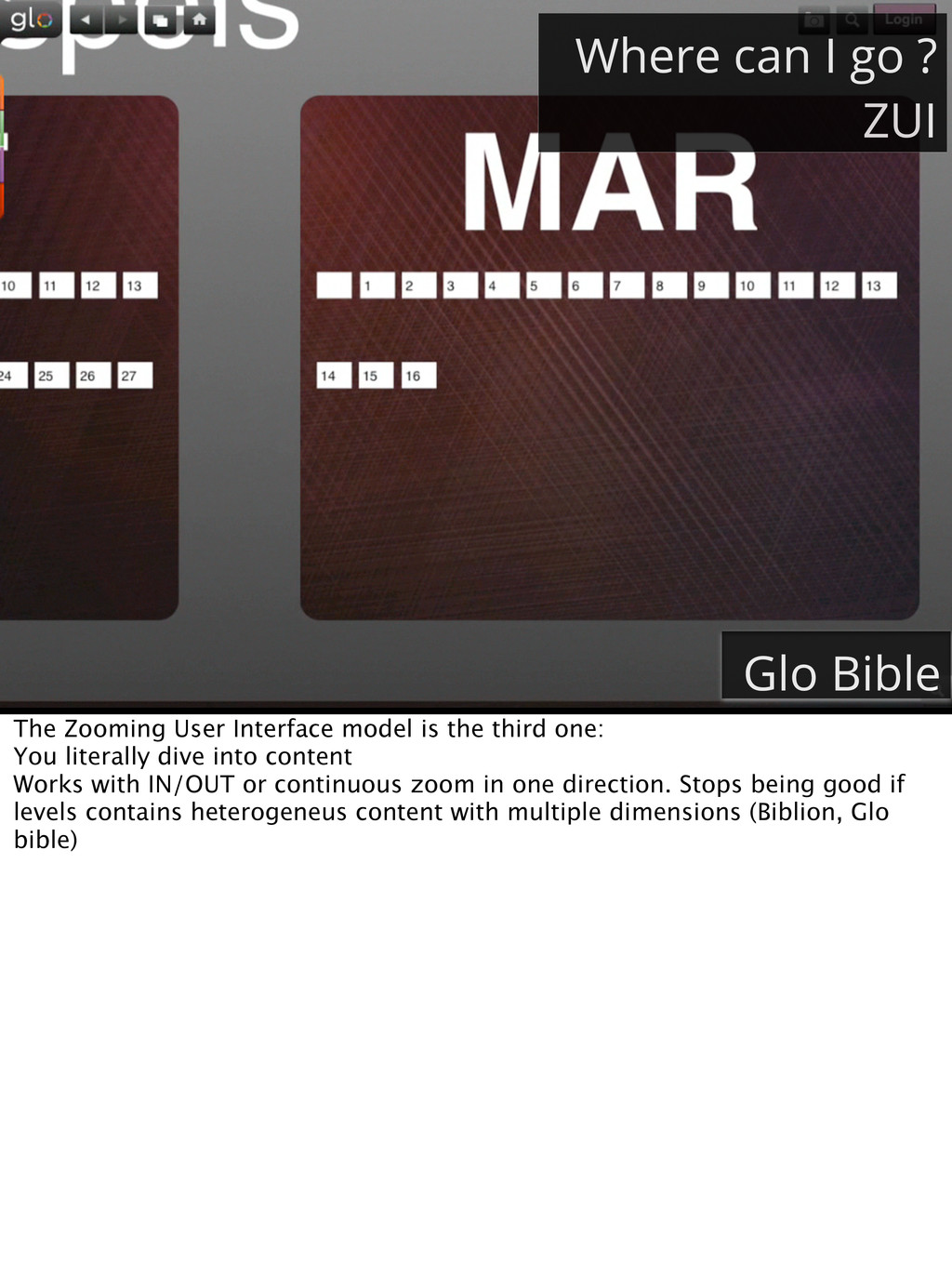 Where can I go ? ZUI Glo Bible The Zooming User...