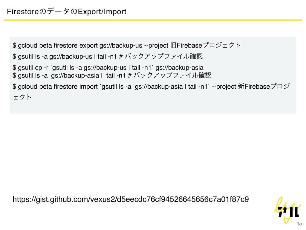 15 FirestoreͷσʔλͷExport/Import $ gcloud beta fir...