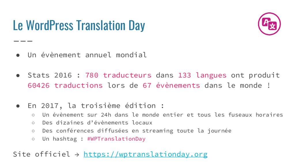 Le WordPress Translation Day ● Un évènement ann...