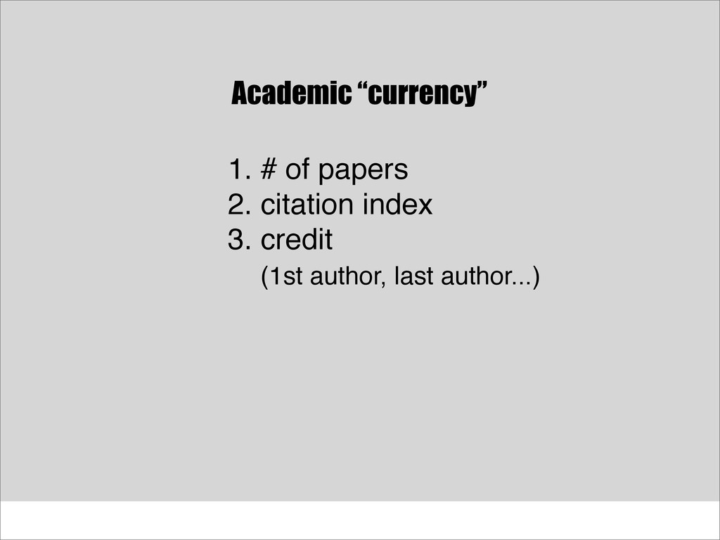 "Academic ""currency"" 1. # of papers 2. citation ..."