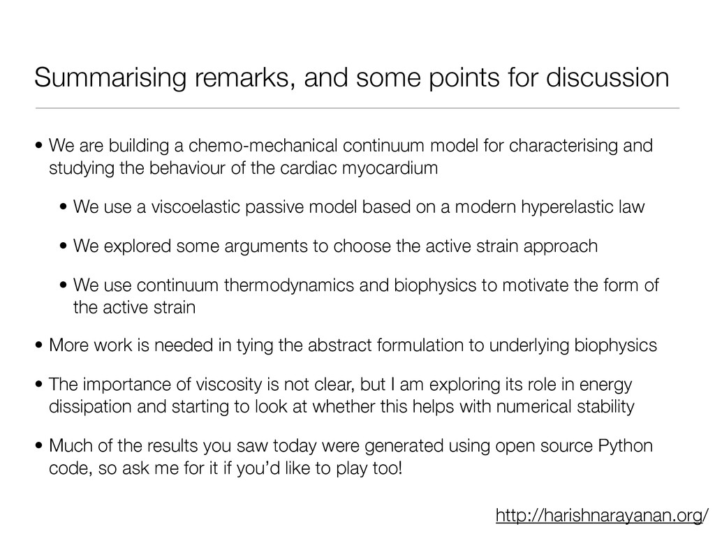 Summarising remarks, and some points for discus...