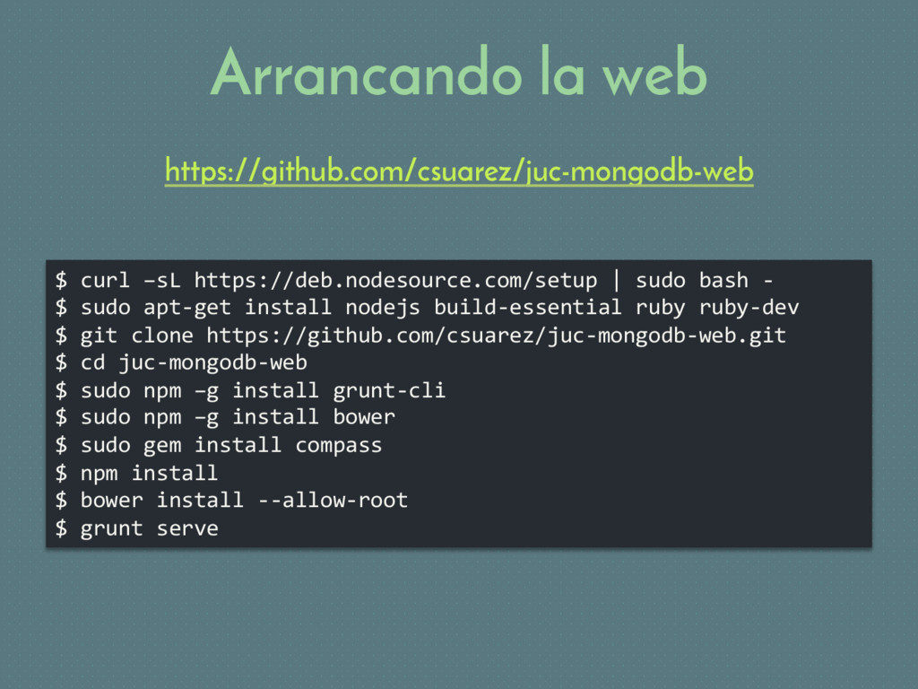 $ curl –sL https://deb.nodesource.com/setup | s...