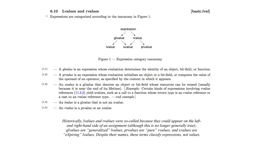 Historically, lvalues and rvalues were so-calle...