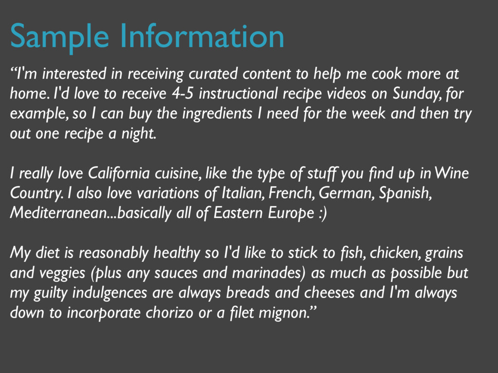 "Sample Information ""I'm interested in receiving..."