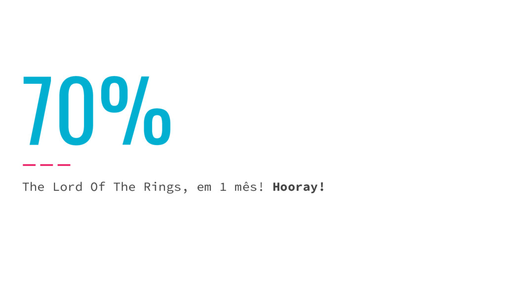 70% The Lord Of The Rings, em 1 mês! Hooray!