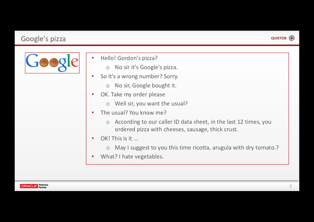 2 Google's pizza • Hello! Gordon's pizza? o No ...