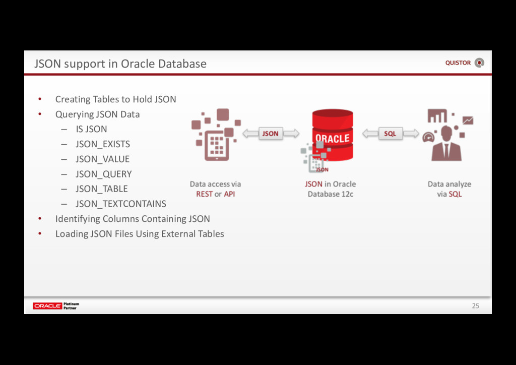 25 JSON support in Oracle Database • Creating T...