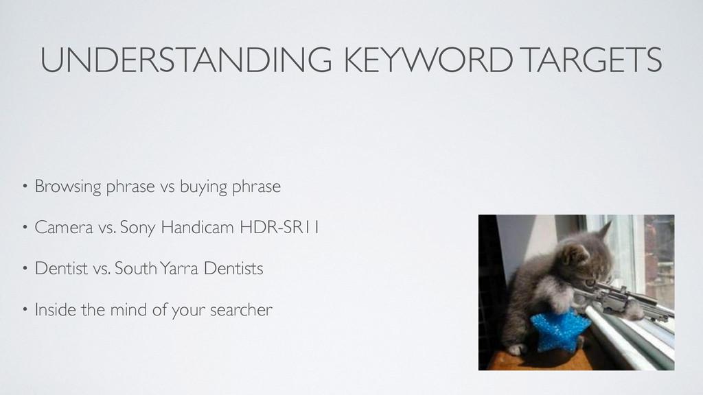 UNDERSTANDING KEYWORD TARGETS • Browsing phrase...