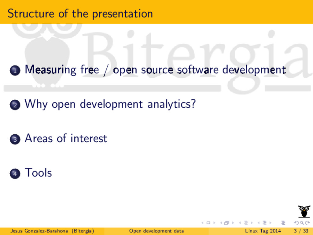 Structure of the presentation 1 Measuring free ...